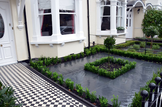 Front Garden Design Victorian Mosaic Rendered Plaster Wall Rails Gate Paving Planting Wimbledon Rayners Park Kingston West London Chiswick