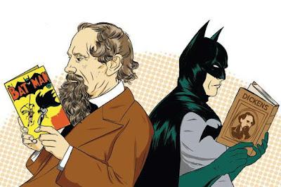 Meme de humor sobre Dickens y Batman como lectores