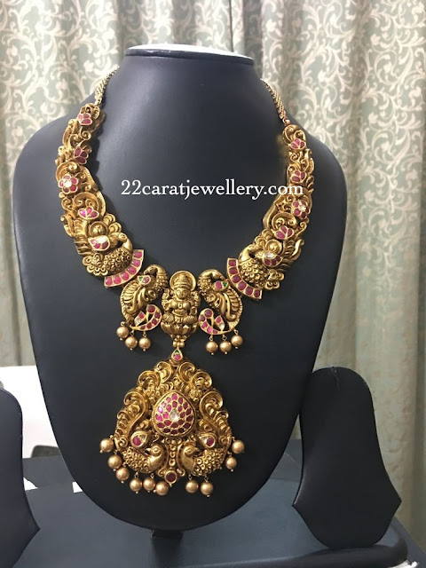 Unique Peacock Necklace with Kundan