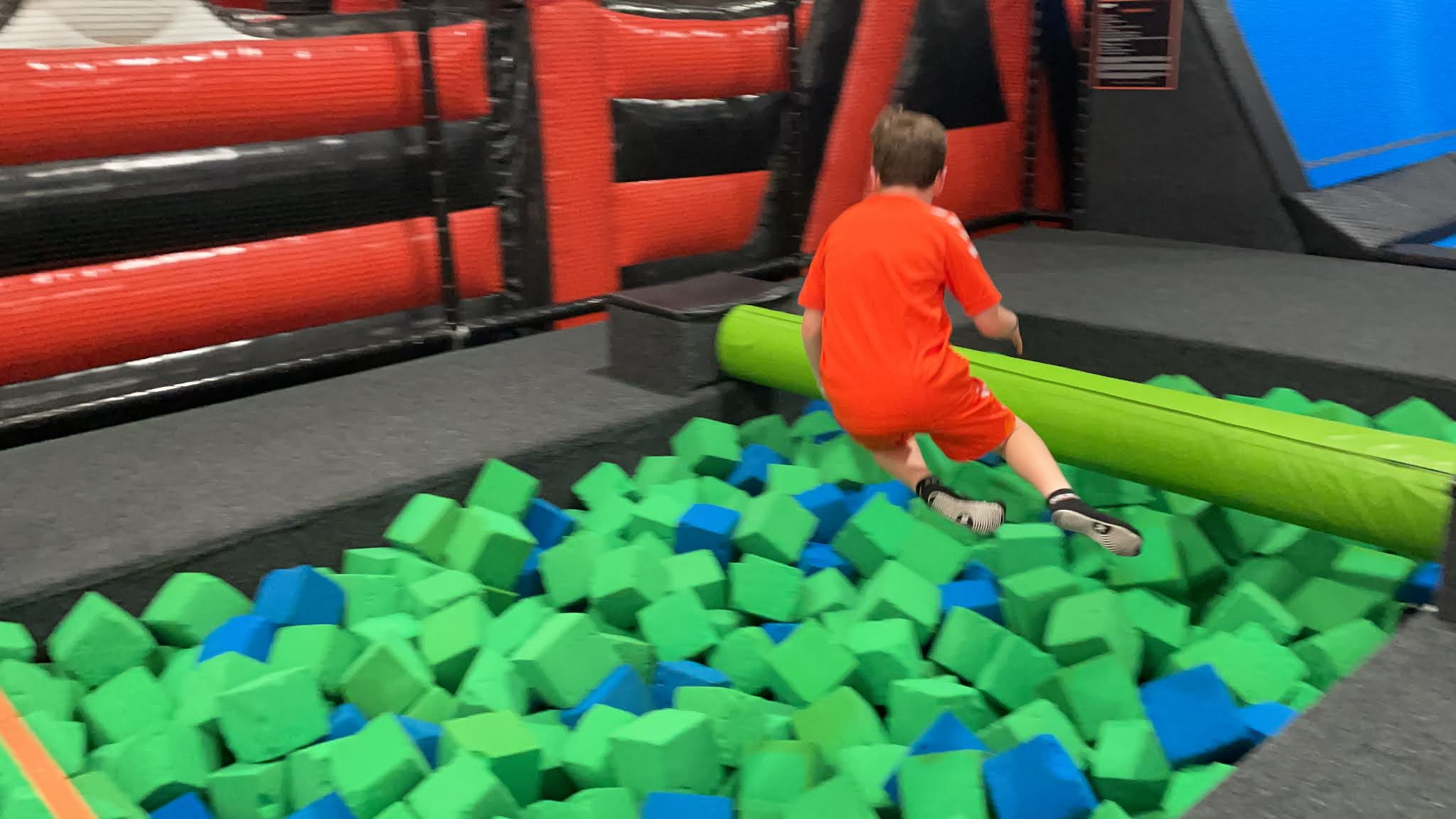 jumping in to a foam pit