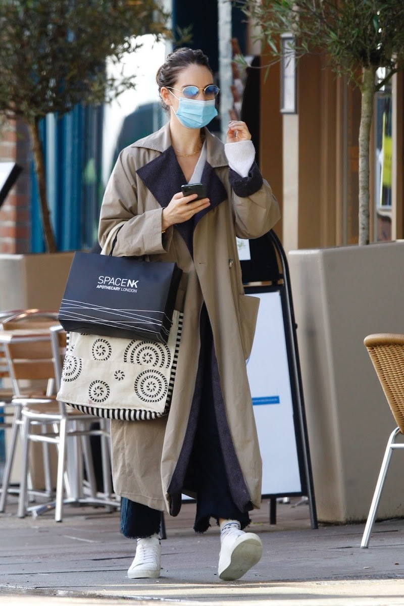 Lily James Clicked  While Shopping for Flowers in Primrose Hill 8 Oct -2020