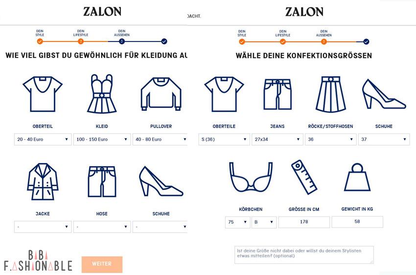Zalon by Zalando im Test Fragebogen 3