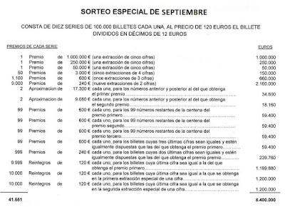 programa de premios del sorteo especial de septiembre
