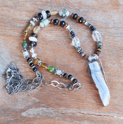 Handmade Sterling Silver Blue Lace Agate Necklace with Tourmaline, Moonstone
