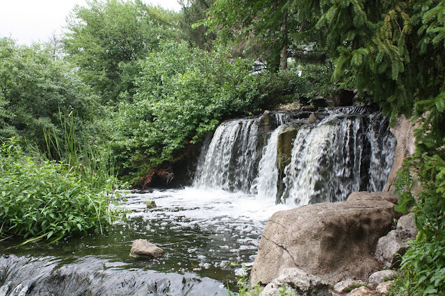 Waterfall cascading at Lake Katherine in Palos Heights, IL