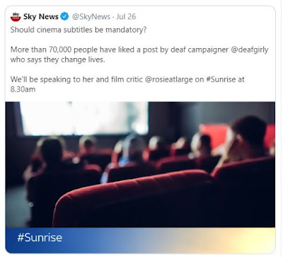 Tweet from Sky News saying 'Should cinema subtitles be mandatory?'