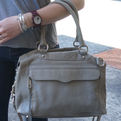 Rebecca Minkoff mini MAM bag in soft grey, JORD Cora wood watch | AwayFromTheBlue