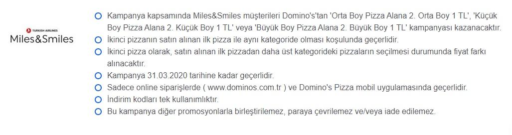 Dominos Pizza, Miles&Smiles Kampanyası 2020