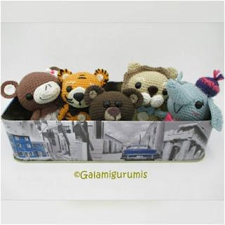 patron amigurumis mono, león, tigre, oso, elefante galamigurumis