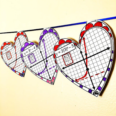 Valentine's Day Algebra Graphing Exponential Functions Math Pennant