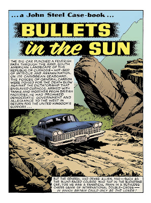Bullets in the Sun Comics page with blue sedan car