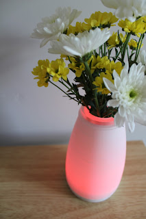 red light up vase