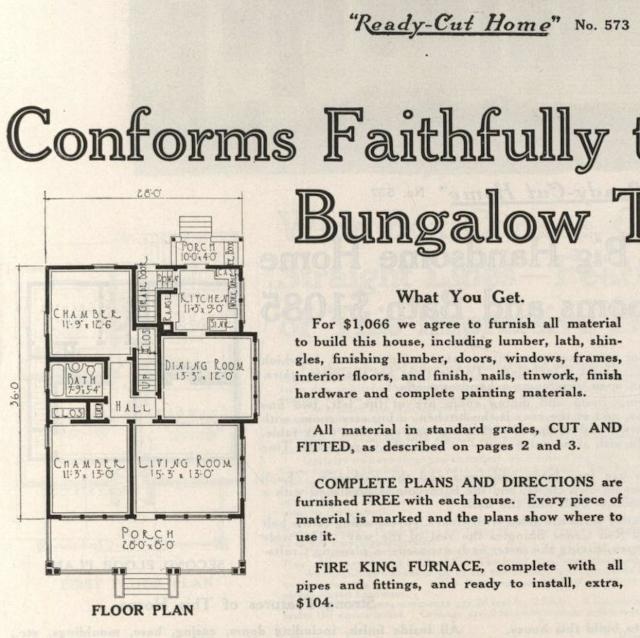 Floor plan of Gordon-Van Tine catalog image from 1916 of lookalike model to the Sears Hazelton--model No 573
