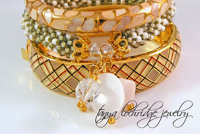 Tanya Lochridge Jewelry Taupe-Cream Pearl Charm & Czech Glass Bead Rope Bangle