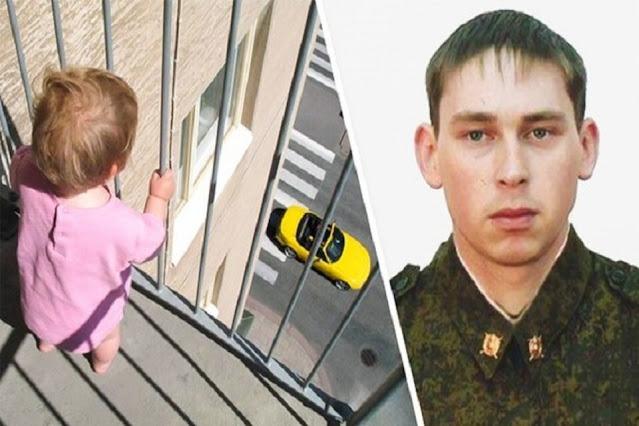 Военнослужащий просто шел домой мимо одной из многоэтажек, но через мгновение он уже стал настоящим героем!