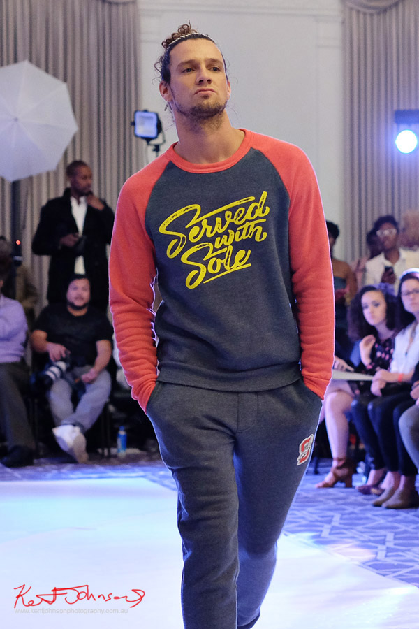 Sweatshirt and pants mens Streetwear Label Solemates Apparel at Bracé NYFW. Photographed by Kent Johnson.