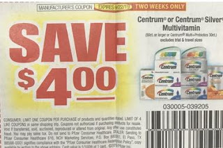 "$4/1 Centrum Product Or Centrum Silver Multivitamin 50ct+ Or Centrum Multiplus Probiotics 30ct (Limit 4) Coupon From ""RMN"" Insert Week Of 9/8 (Exp:9/22)."