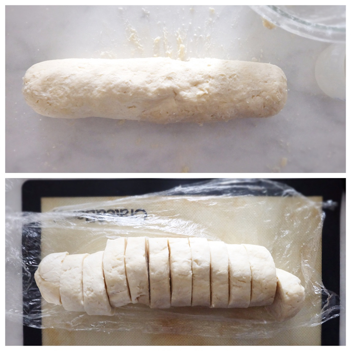 dough rolled into a log and then sliced