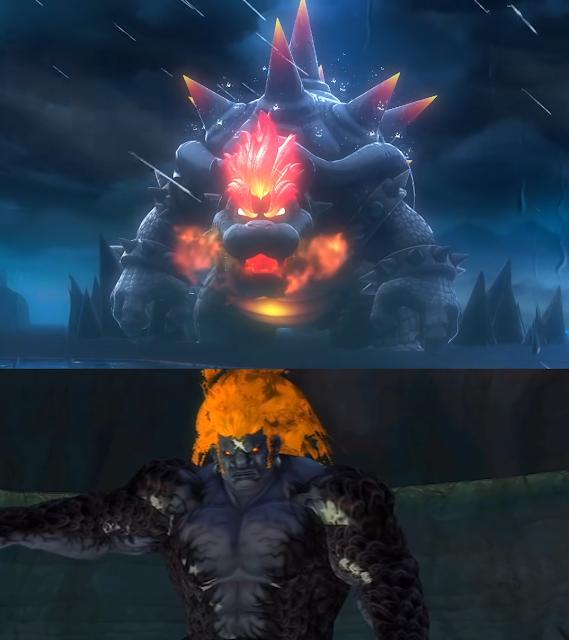 Super Mario 3D World Bowser's Fury gargantuan dark Bowser Demise The Legend of Zelda Skyward Sword