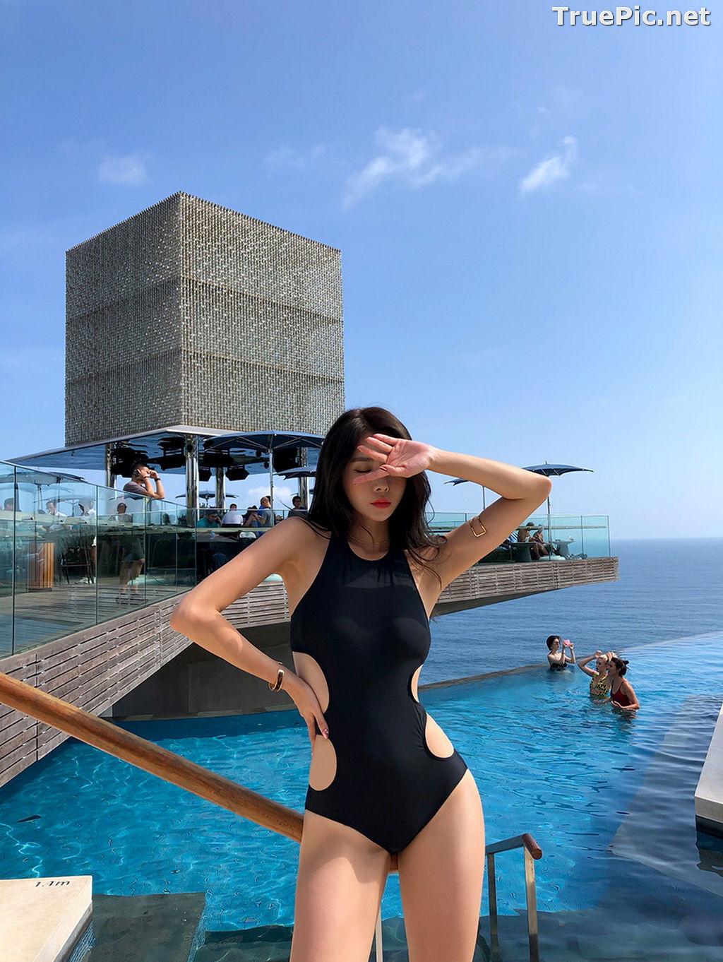 Image Kwon Byul - Korean Fashion Model - Black Monokini - TruePic.net - Picture-7