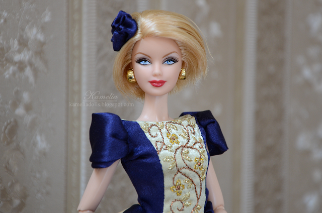 OOAK dress with embroidery blue and gold for Barbie doll