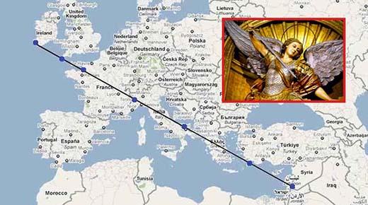 La misteriosa línea recta que une siete santuarios dedicados a San Miguel