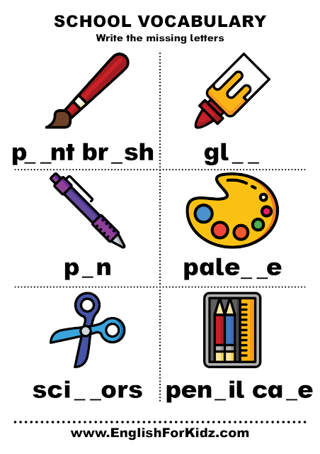 Classroom objects worksheets - school vocabulary