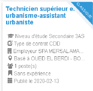 Technicien supérieur en urbanisme-assistant urbaniste Employeur : SPA MERSAL AMAR BENAMMAR