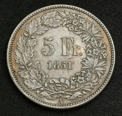 Switzerland Silver 5 Francs Coin Minted In 1851 World Banknotes Amp Coins Pictures Old Money