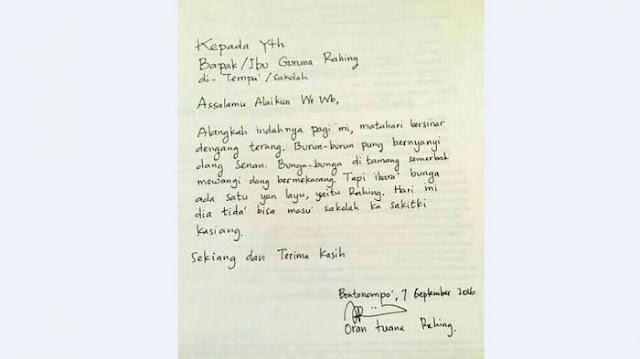Surat Izin Tidak Masuk Sekolah Lucu Bergaya Puisi Ini Jadi Viral dan Trend Di Facebook