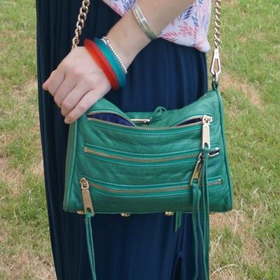 navy maxi skirt with Rebecca Minkoff emerald green mini 5-zip rocker bag | awayfromtheblue