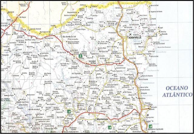 Mapa rodoviário da região de Joinville - SC