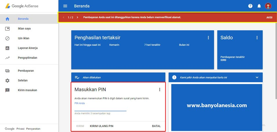 Cara memasukkan PIN Google Adsense