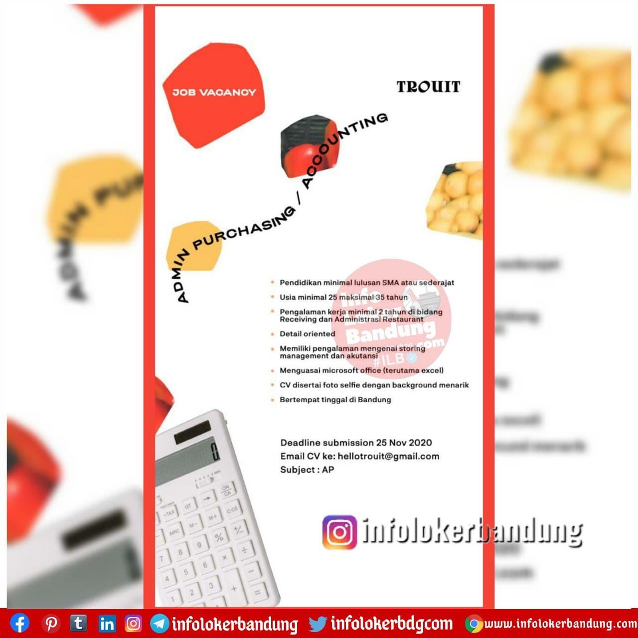 Lowongan Kerja Trouit Restaurant Bandung November 2020