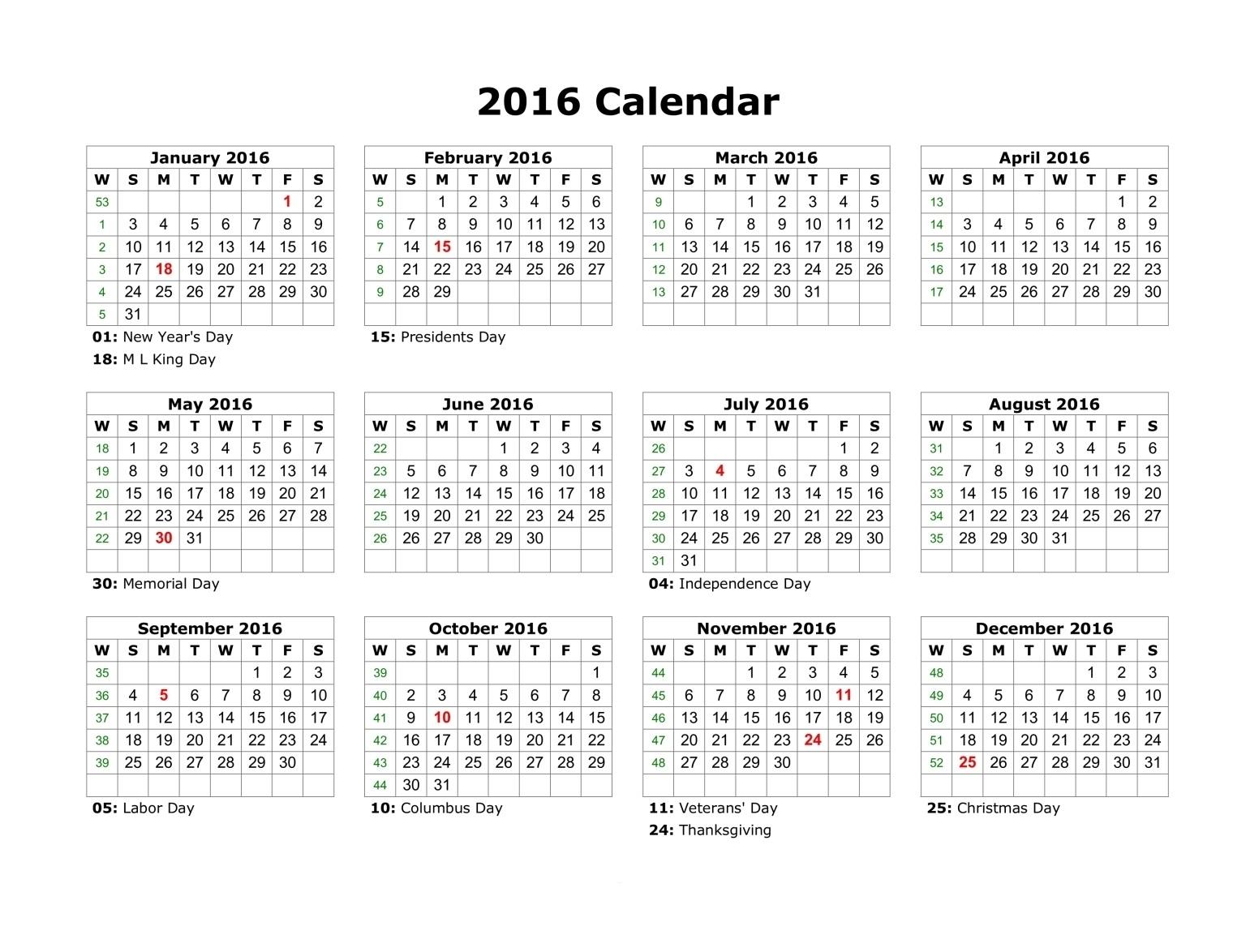 Calendario Usa Excel
