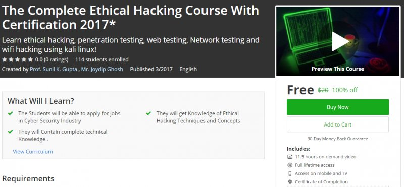 100 Off The Complete Ethical Hacking Course With