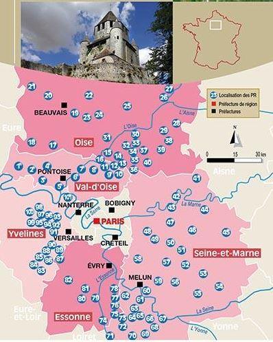 Répartition géographique des sentiers Chamina autour de Paris