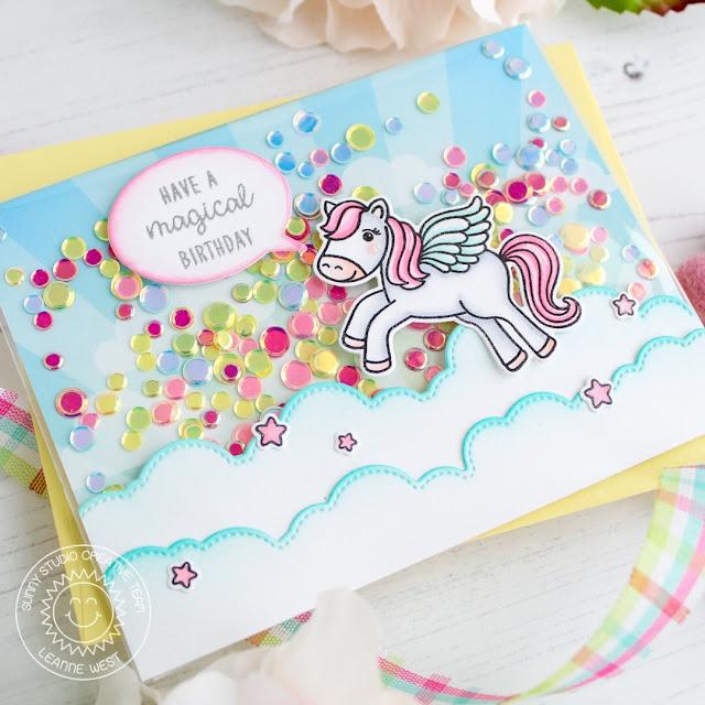 Sunny Studio Stamps: Prancing Pegasus Fluffy Cloud Border Dies Comic Strip Speech Bubble Dies Birthday Shaker Card by Leanne West