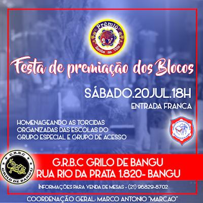 Flyer premiação Samba na Veia da Fedração dos Blocos Carnaval 2019