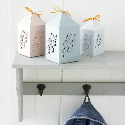 Paper Lanterns with papercut floral design