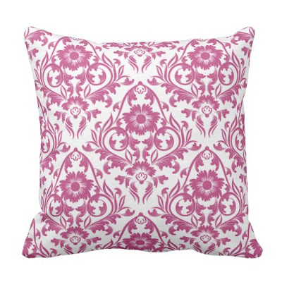 Mulberry Damask Floral Traditional Pillow by JoMazArt