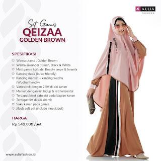 Koleksi Gamis Syari Muslimah Qeizaa Golden Brown Set Syari by AULIA Fashion