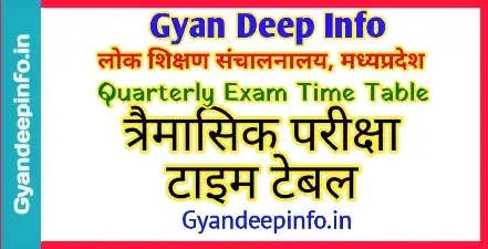 MP Board Quarterly Exam Time Table