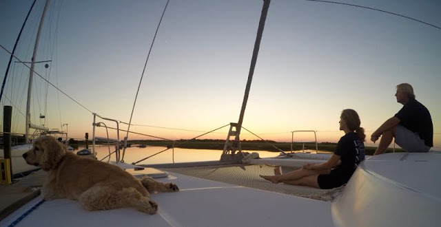 Watching the sunset from our Lagoon 380 sail catamaran
