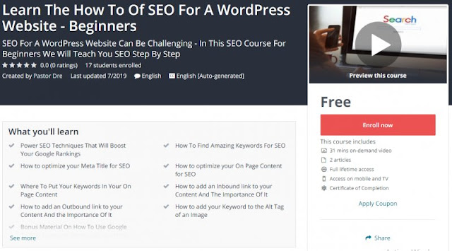 [100% Free] Learn The How To Of SEO For A WordPress Website - Beginners
