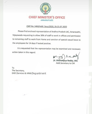 Orders granting special casual leave of 14 days to government employees who come Kovid positive.