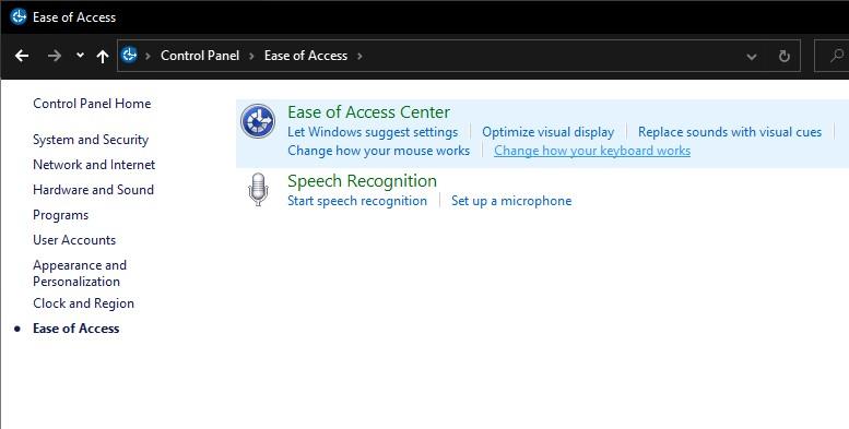 Pengaturan Ease of Access Center pada Control Panel Windows