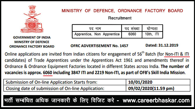OFB Recruitment, OFB Recruitment 2020, OFB Vacancy 2019-20, Ordnance Factory Board  Recruitment,