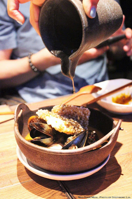 Truffle Seafood Broth with Sizzling Crispy Rice at Oiji in New York City