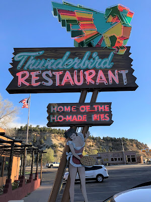The Thunderbird Lodge Sign - Home of Ho-made Pies.